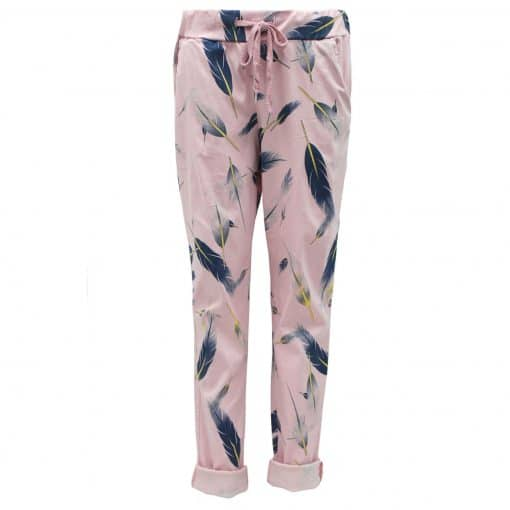 Baby pink, feather, stretchy, magic trousers
