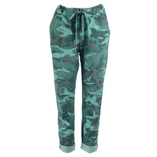 Mint green, stretchy, magic trousers, camouflage, joggers