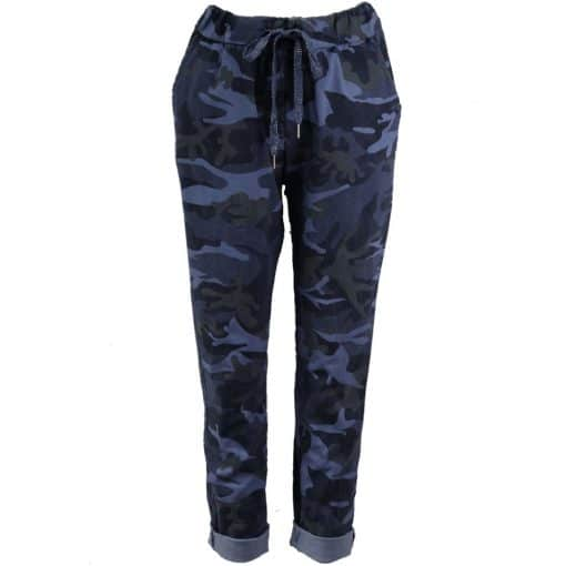 Navy blue, stretchy, magic trousers, camouflage, joggers