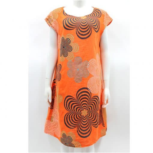 Orange, kaleidoscope, flower, linen, dress, summer, tunic