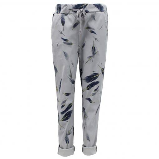grey, feather, stretchy, magic trousers