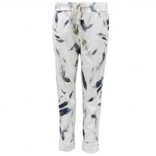 white, feather, stretchy, magic trousers