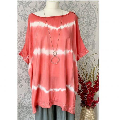 Coral orange tie-dye oversized sparkle t-shirt
