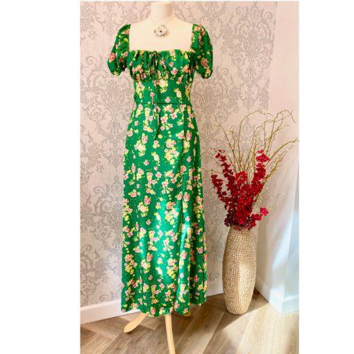 Emerald green bardot dress