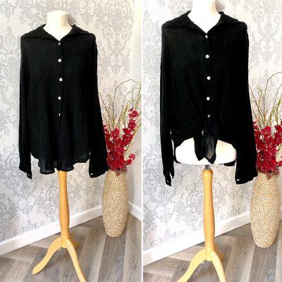 front tie, blouse, black