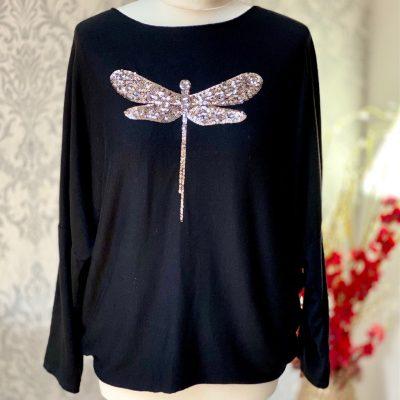 Black, super soft, jumper, dragonfly, sparkle