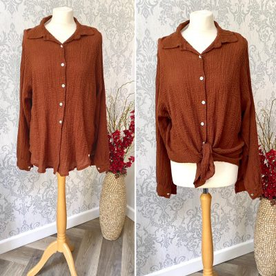 Chocolate brown cotton front tie blouse