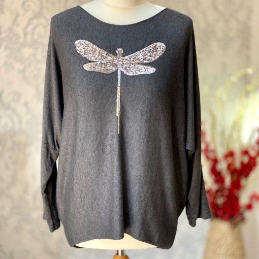 Dark grey, super soft, jumper, dragonfly, sparkle