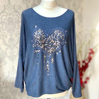 Denim blue, super soft, jumper, heart,