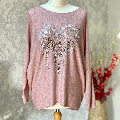 Dusty pink, super soft, jumper, heart,