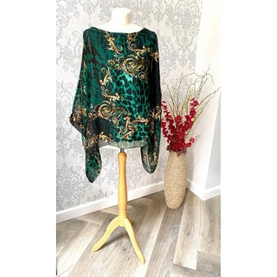 emerald green, leopard, silk blouse