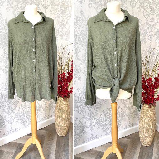 front tie, blouse, khaki green