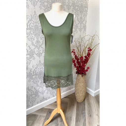 Khaki green, lace vest, vest