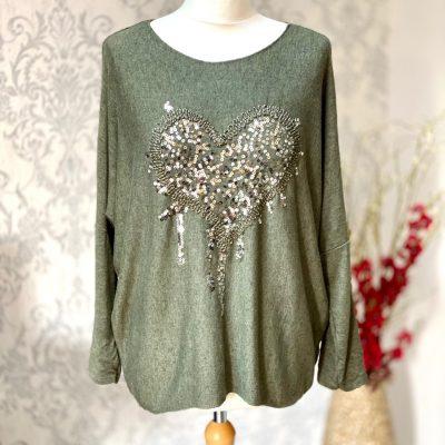 Khaki green, super soft, jumper, heart,