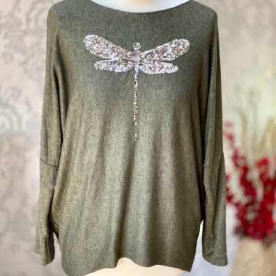 Khaki green, super soft, jumper, dragonfly, sparkle
