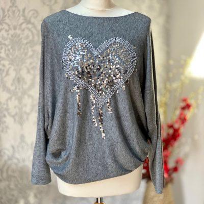 Light grey, super soft, jumper, heart, sparkle