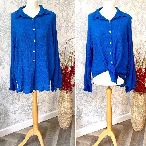 front tie, blouse, royal blue