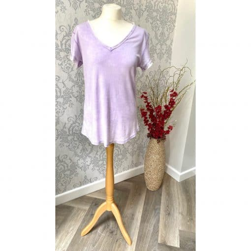 lilac, frayed, t-shirt
