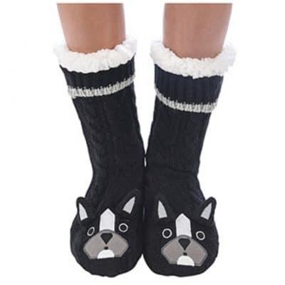 black, dog, snoozie, slipper, socks