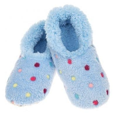blue, dotty, snoozie, slippers
