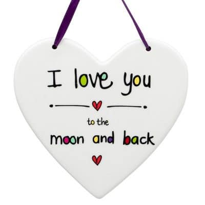 i love you, moon and back, hanging heart