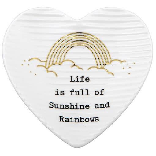 heart, trinket tray, rainbows, sunshine