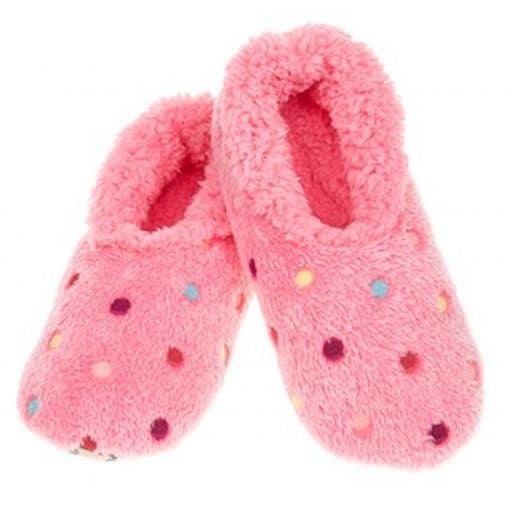 Pink, dotty, slipper, socks, snoozies