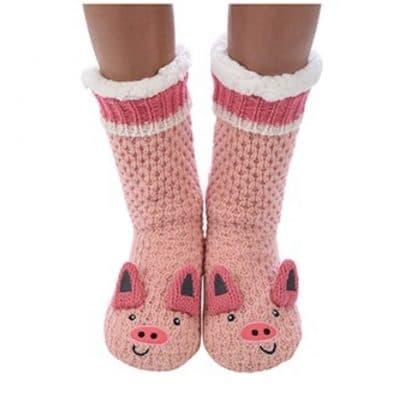 Pink, pig, snoozie, slippers, socks