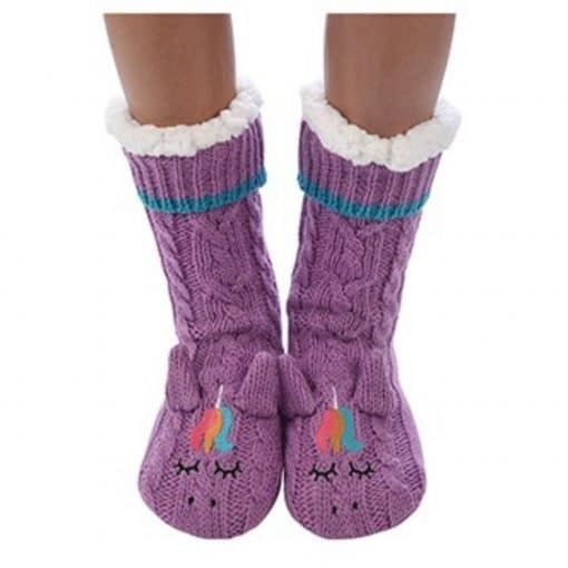 purple, unicorn, snoozie, slipper, socks