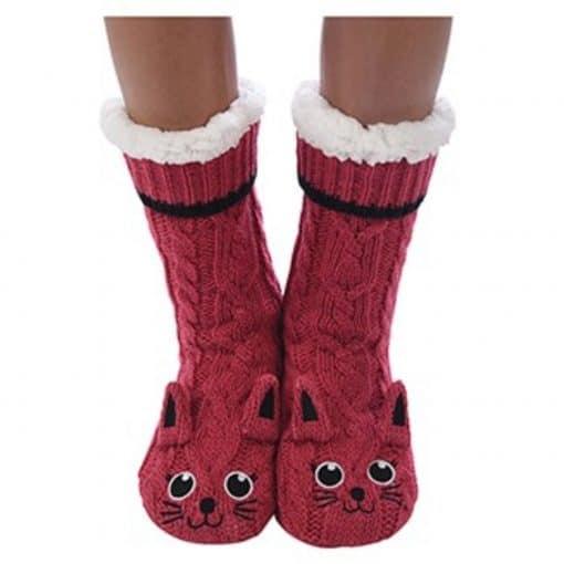 red, berry, cat, snoozie, slipper, socks