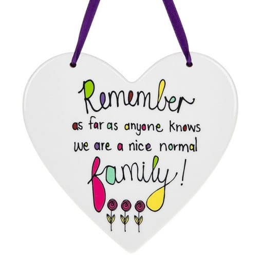 nice normal family, hanging heart