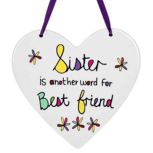 Sister, best friend, hanging heart