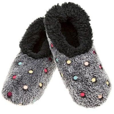 Black dotty snoozie slippers medium